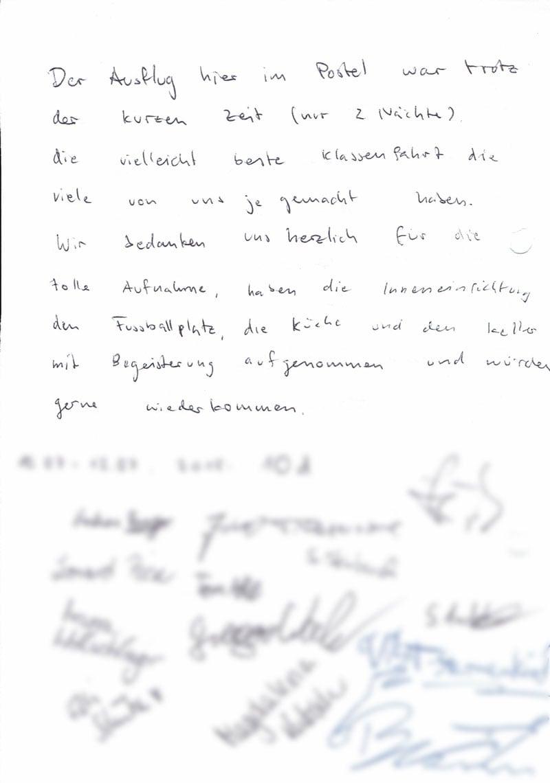Gästebuch Brief